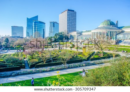 The Jardin Botanique and modern skyscrapers in Brussels, Belgium