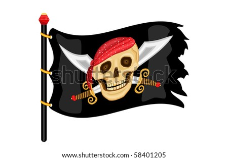 The Jolly Roger - pirate flag waving. Isolated over white background.