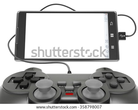 the joystick is connected to the phone isolated on white background close-up front view