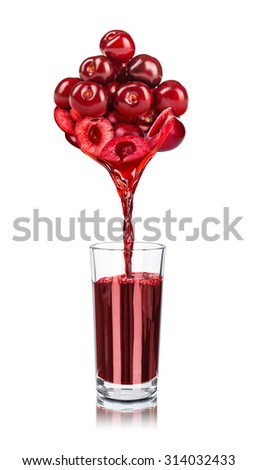 the juice from cherries poured into glass isolated on white background