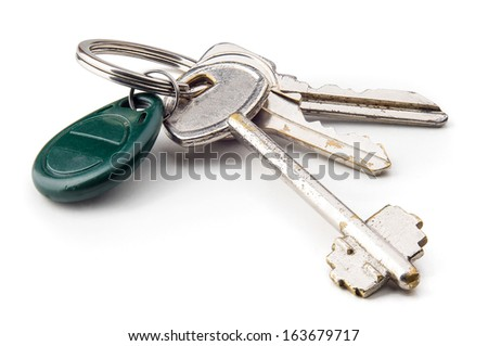 The keys to open the house's door and the electronic lock