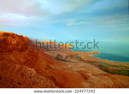 The landscape of the Dead Sea shoreline at sunset (sunset lighting, toned image)