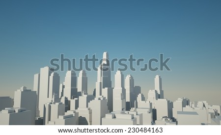 The layout of a modern city with skyscrapers on the background of blue sky, 3d render