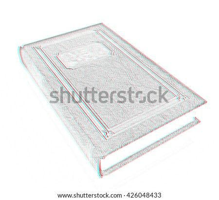 The leather book on a white background. Pencil drawing. 3D illustration. Anaglyph. View with red/cyan glasses to see in 3D.