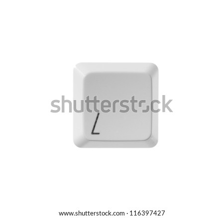 The letter L from a white computer keyboard