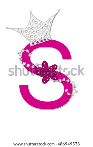 "The letter S, in the alphabet set ""Pageant Queen"" is bright pink and outlined with white.  Letter is decorated with crown, flower, and diamonds."