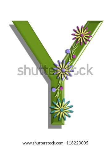 "The letter Y, in the alphabet set ""3D Blooming Vine,"" is green and is ..."
