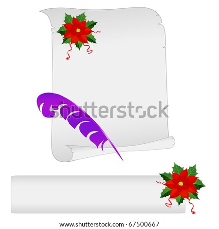 The list for Christmas on a parchment isolated on white.