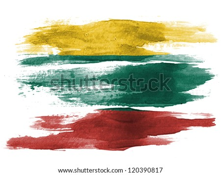 The Lithuanian flag painted on white paper with watercolor