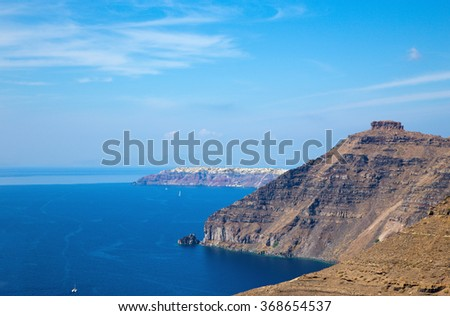 The look to Skaros castle with and OIa in the backgroud.