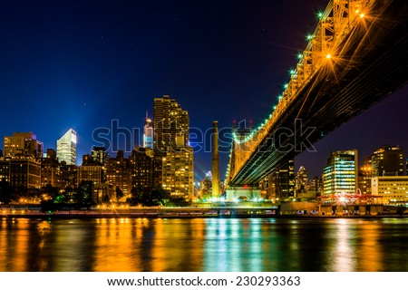 The Manhattan Skyline and Queensboro Bridge seen from Roosevelt Island, New York.