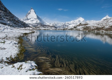 The Matterhorn reflecting in a lake