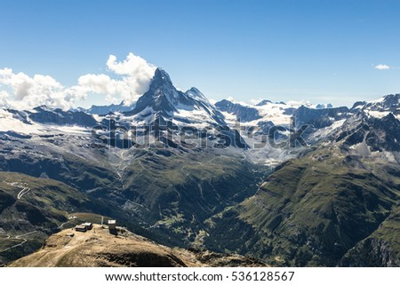 The Matterhorn view from the Oberrothorn peak (3415m) above the famous village of Zermatt in Canton Valais in the alps in Switzerland