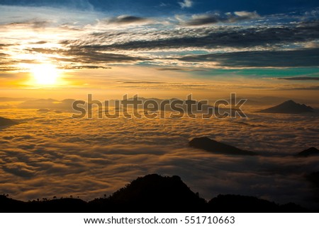 The mist in the morning from view point with layers of mountains at Phu Chi Dao, Chiangrai, Thailand