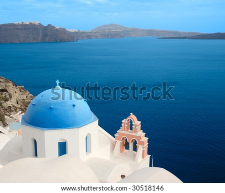 The most famous church on Santorini Island, Greece