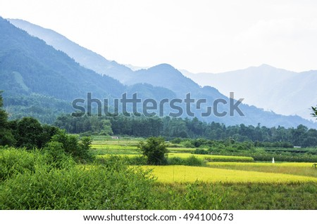 The mountains and rural scenery in summer