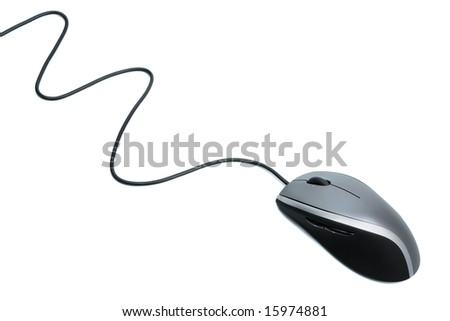 The mouse with a wheel on a white background