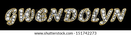 The name GWENDOLYN made of a shiny diamonds style font, brilliant gem stone letters building the word, isolated on black background.