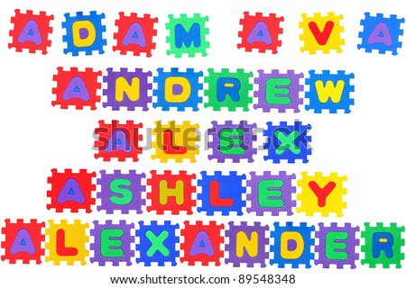 the names ava alex adam andrew ashley and alexander made of letter