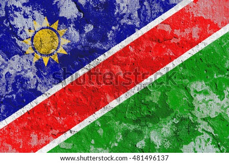 The Namibia flag painted on grunge wall