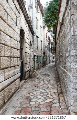 The narrow streets in the old town of Kotor.