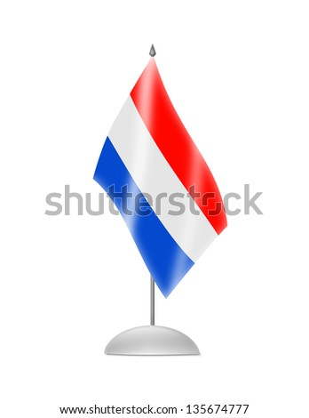 The Netherlands flag. Table Flag. Isolated on white.