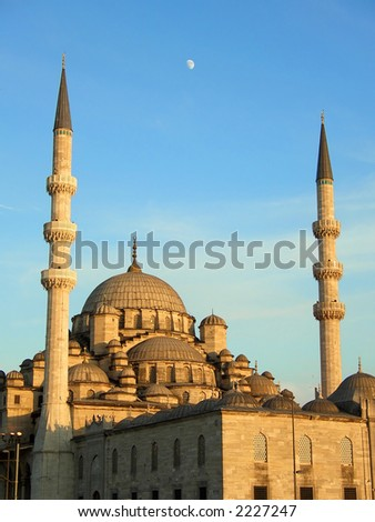 The New Mosque in Istanbul at sunset