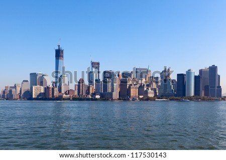 The New York City Downtown skyline at the afternoon