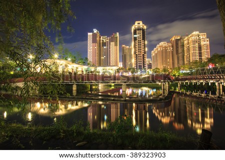 The Night view of Taichung cyit, Taiwan