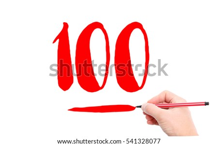 The number 100 written by a hand on a white background