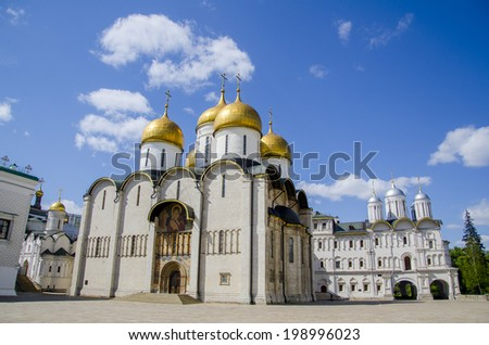 The old and beautiful Orthodox Cathedral Uspenskiy in Kremlin, Moscow, Russia