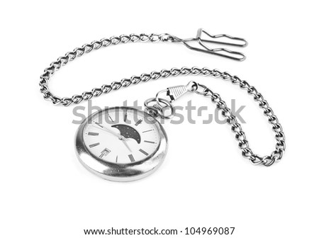 the old clock on a white background
