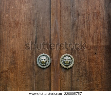 The old front door made of wood.