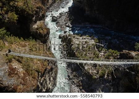 the old Larche Dibhan bridge over the Dhudh Khosi River on the trek up to Namche Bazar in Nepal