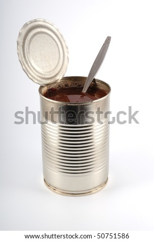 The open metal can on a light grey background