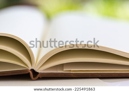 the opened book on the table