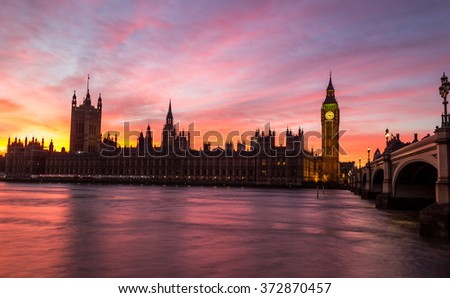 The Palace of Westminster at Sunset with a beautiful coloured sky
