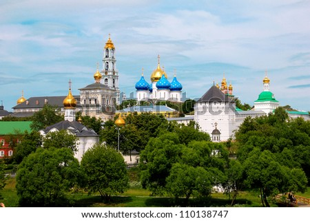 The panoramic view of the Sergiev Posad Monastery in Russia