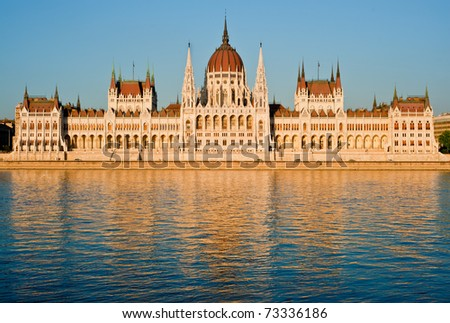 The Parliament of Hungary, reflected in Danube river, in Budapest