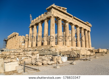 The Parthenon is a temple on the Athenian Acropolis, Greece, dedicated to the maiden goddess Athena, whom the people of Athens considered their patron deity. Its construction began in 447 BC