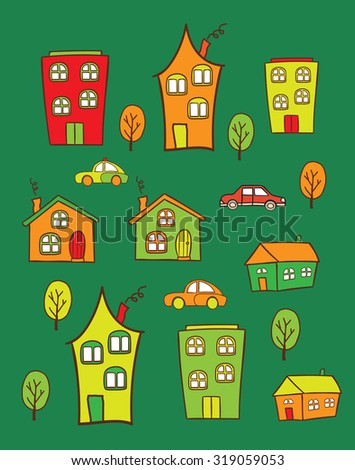 The pattern of colored houses. It can be used as decoration for fabrics, wallpaper, illustration for a variety of goods, items or for design and creativity.