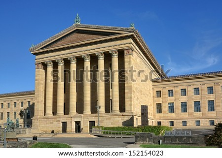 The Philadelphia Pennsylvania Museum of Art rear entrance Greek revival facade with plain pediment and columns
