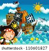 The pirates and the ships - bright sky - illustration for the children 8 - stock vector