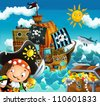 The pirates and the ships - bright sky - illustration for the children 2 - stock photo