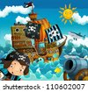 The pirates and the ships - bright sky - illustration for the children 1 - stock vector