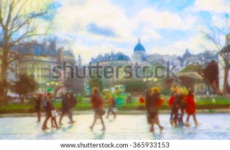 The place near Notre Dame Cathedral. Paris, France. Stylization of painting.