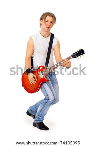 The player of a Guitar on a white background
