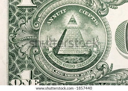 The pyramid and eye on the back of a one dollar bill.