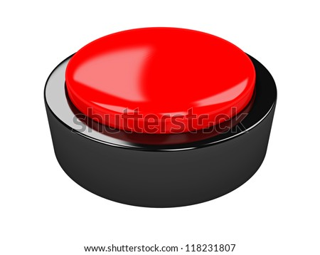 The red metal button on a white background