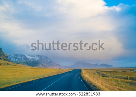The Ring Road in Iceland. Route 1 or the Ring Road is a national road, Beautiful Road in Iceland